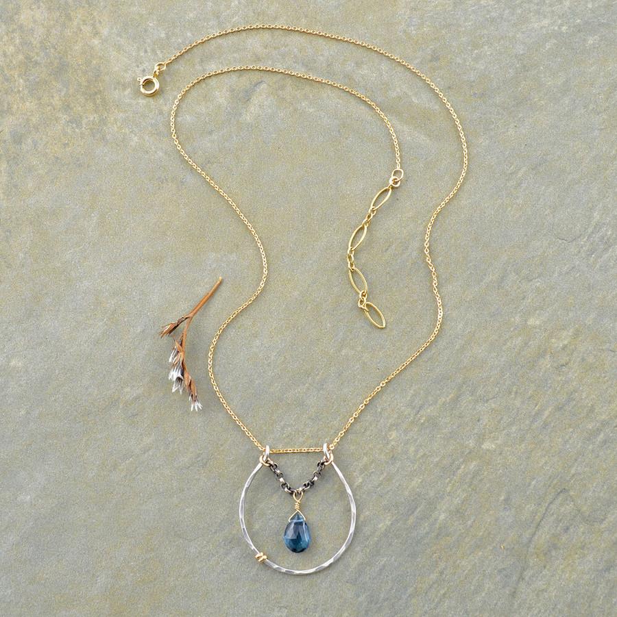 handmade blue topaz necklace: view 2