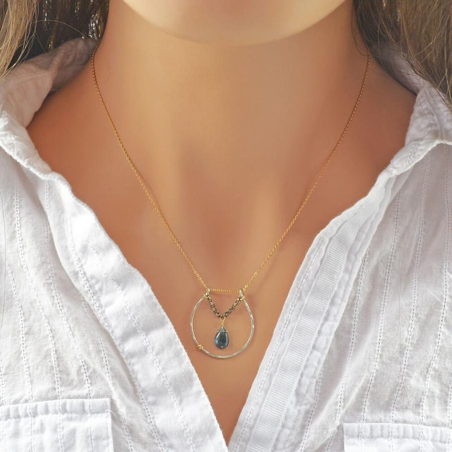 handmade blue topaz necklace: view 3
