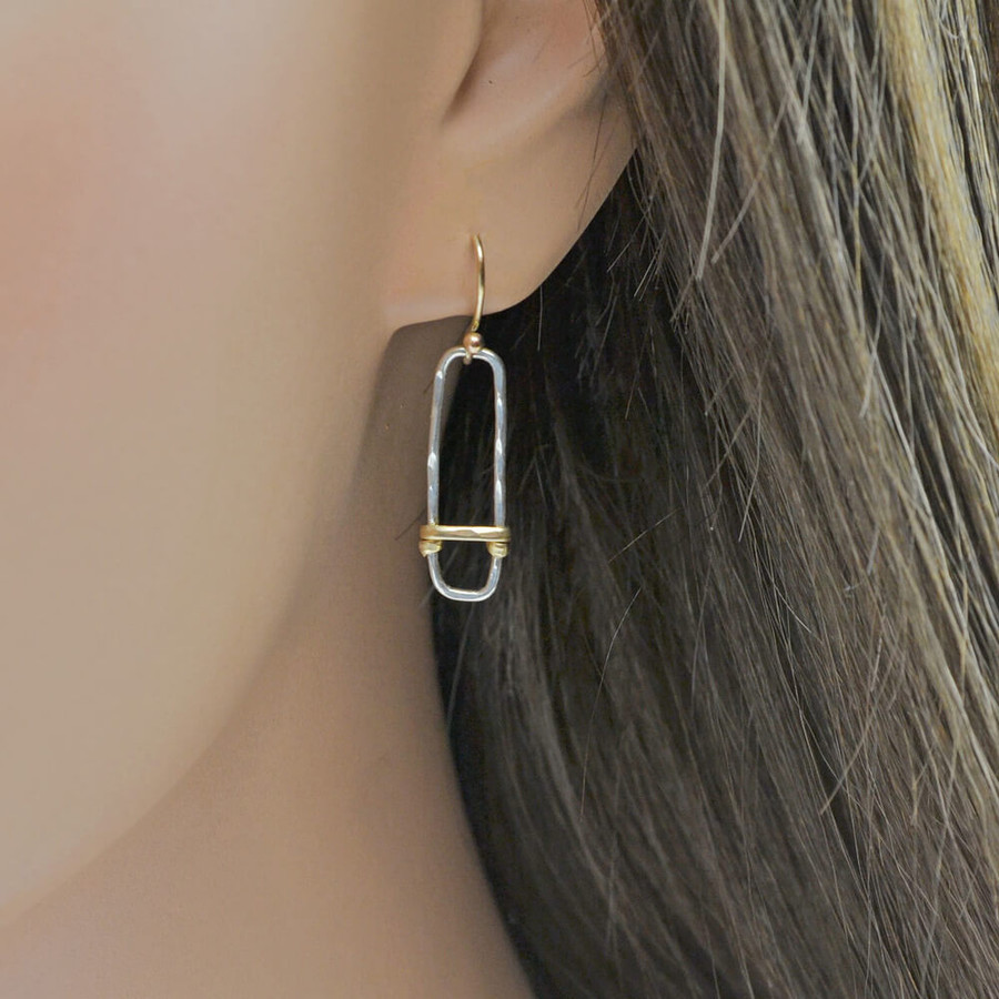 Handcrafted earrings with sterling silver forged to rectangle shape: view 2