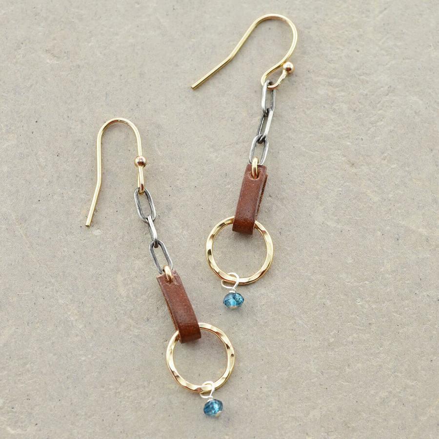 handmade blue topaz gold earrings: view 1