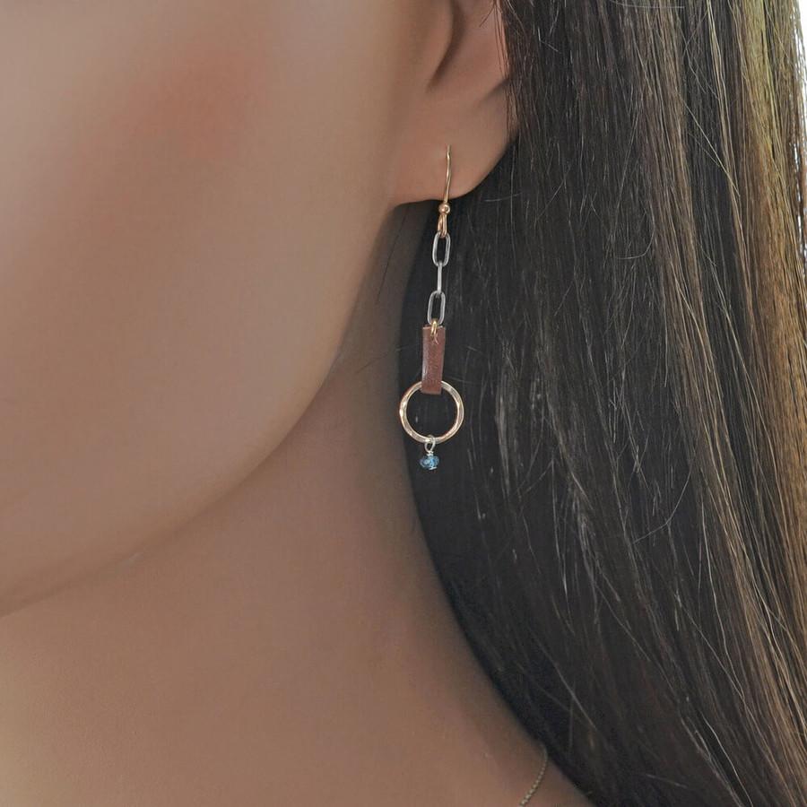 handmade blue topaz gold earrings: view 2