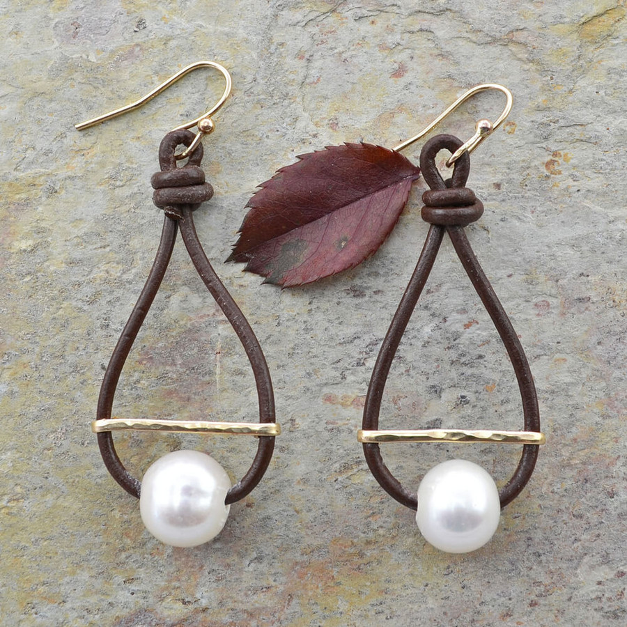 Unique leather and gemstone hoop earrings: view 1