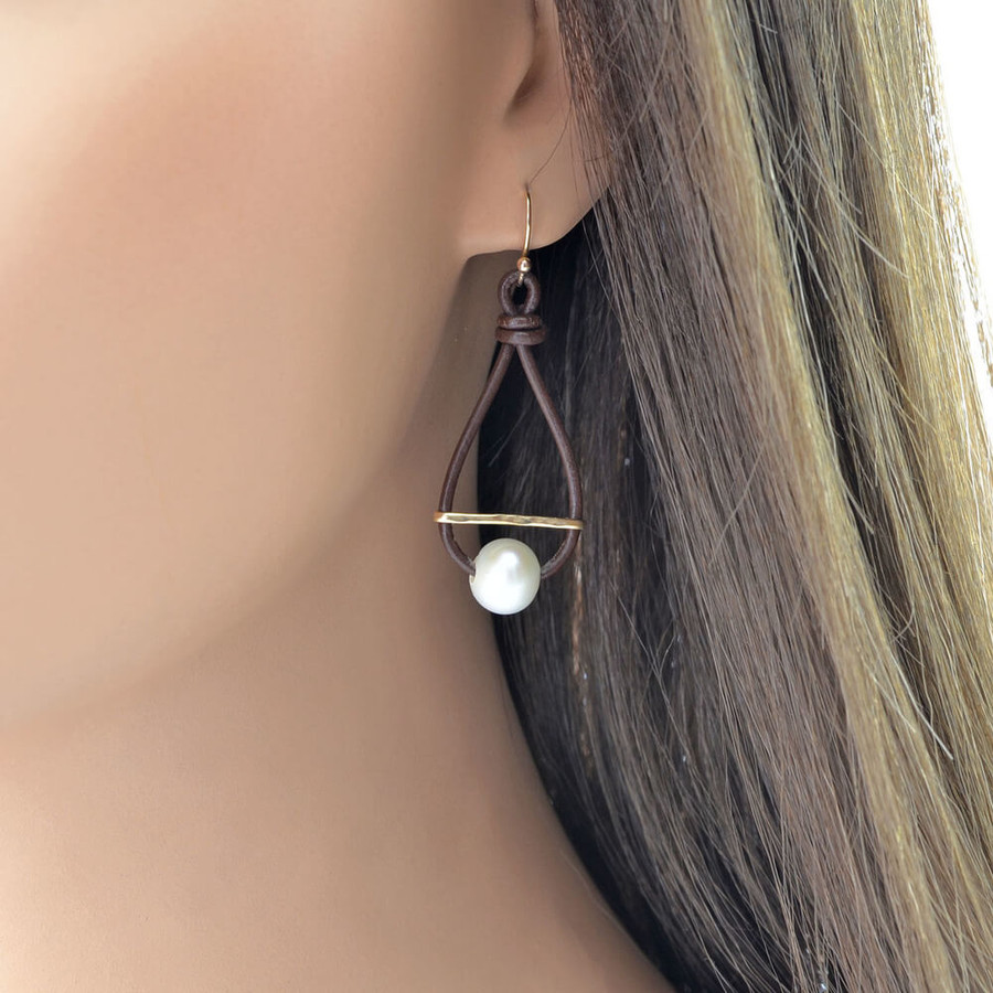 Unique leather and gemstone hoop earrings: view 2