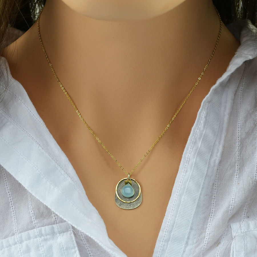 Handmade chalcedony stone necklace with hand hammered 14kt filled circle: view 3
