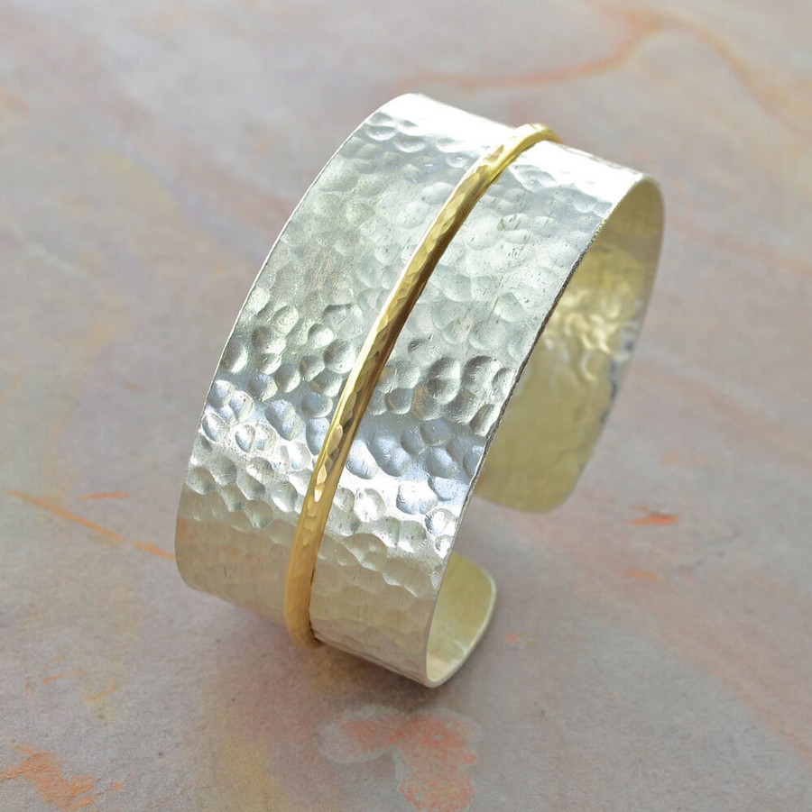 Adjustable handcrafted wide cuff bracelets: view 2
