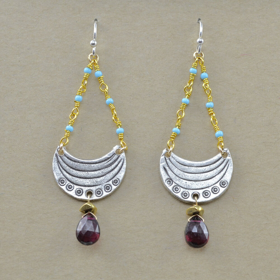 handmade unique crescent moon earrings: view 2