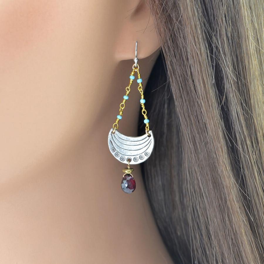 handmade unique crescent moon earrings: view 3