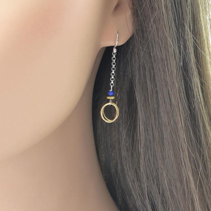 Handmade loop and lapis earrings: view 2