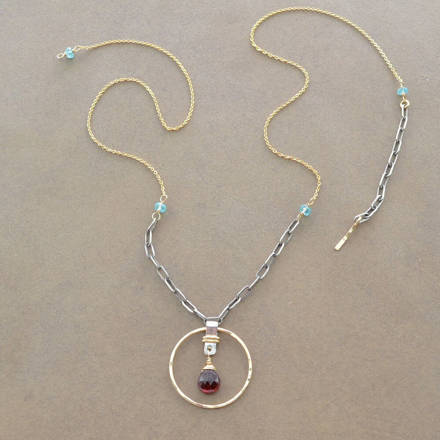 Handmade garnet teardrop necklace with 14kt gold filled sterling silver: view 2