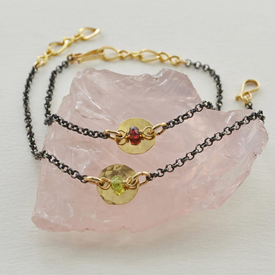 handmade unique oxidized silver bracelet made with gemstones