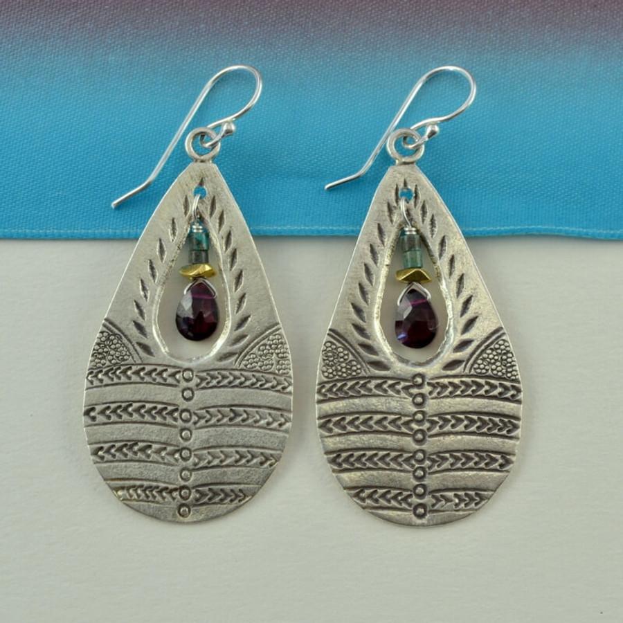 handmade stamped teardrop garnet stone earrings