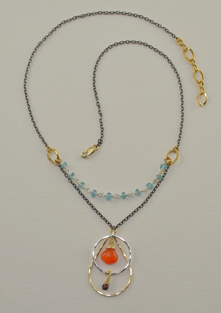 unique handmade apatite and carnelian necklace: view 2