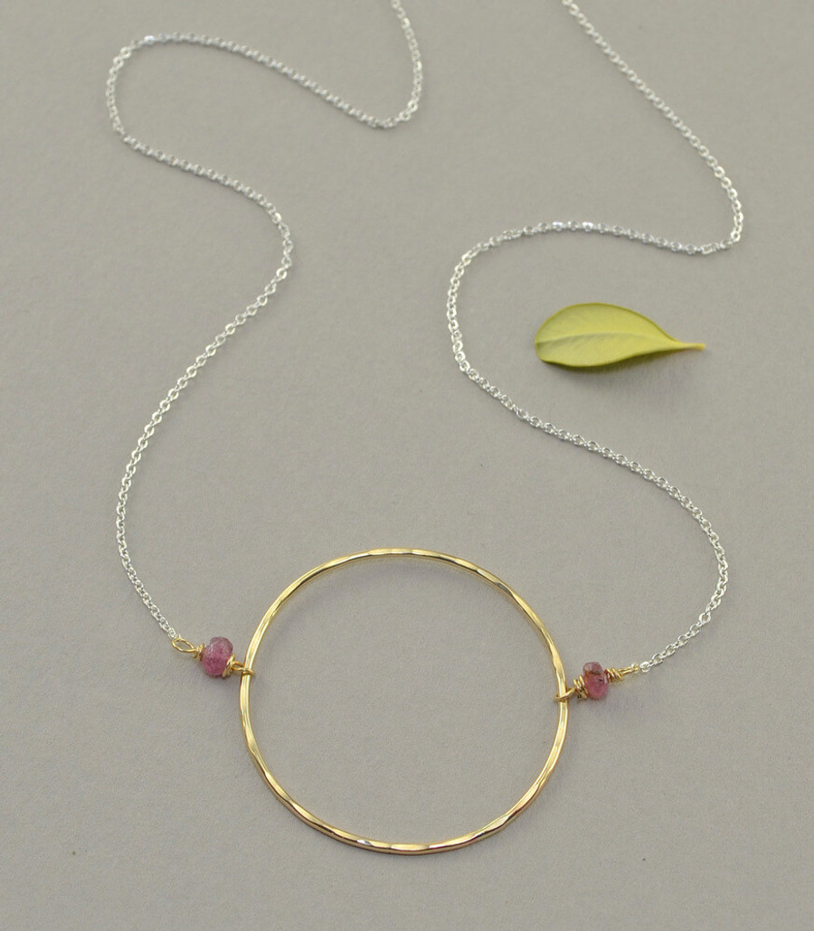 handmade 14kt gold filled circle necklace: view 1