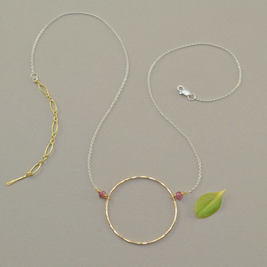 handmade 14kt gold filled circle necklace: view 2