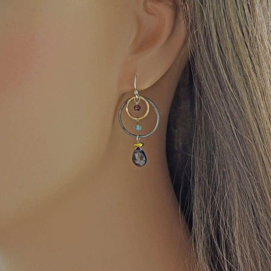 unique handmade iolite earrings with garnet and apatite gemstones: view 2