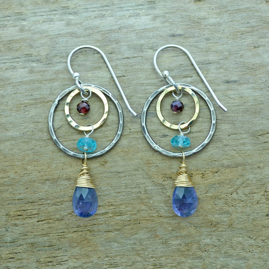 unique handmade iolite earrings with garnet and apatite gemstones
