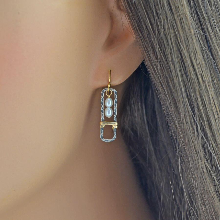 Handmade pearl earrings framed in sterling silver rectangles: view 2