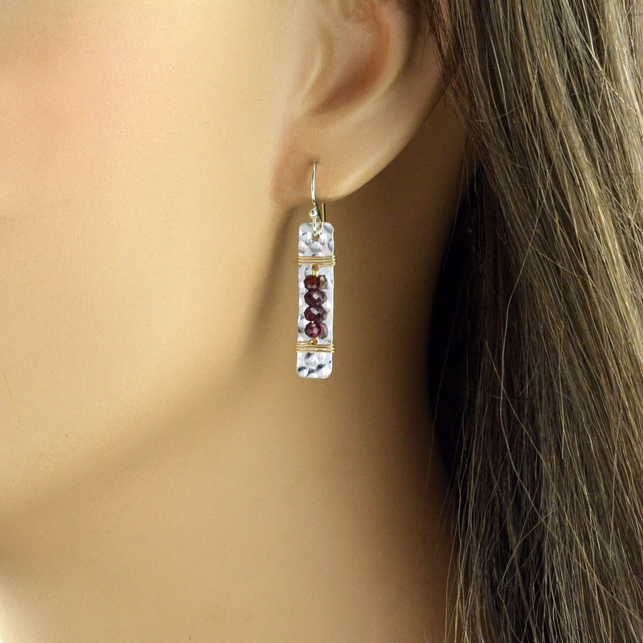 Unique handmade earrings with four garnets wrapped to sterling silver: view 2