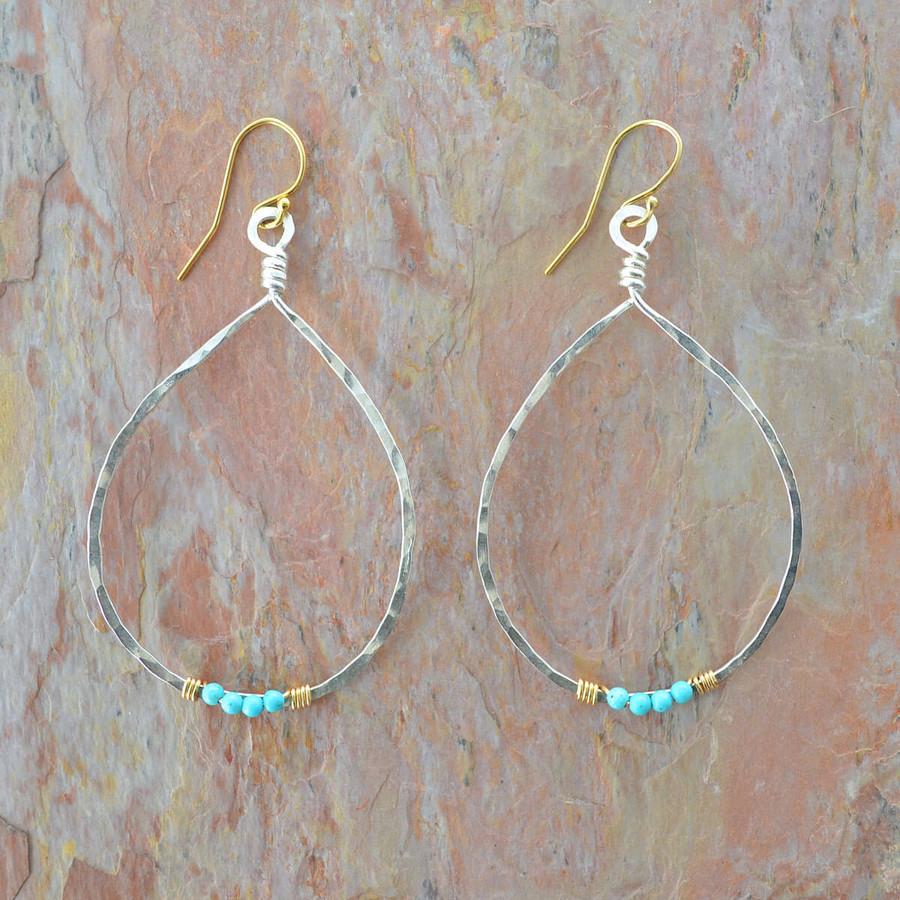 Handmade turquoise earrings in teardrop shape