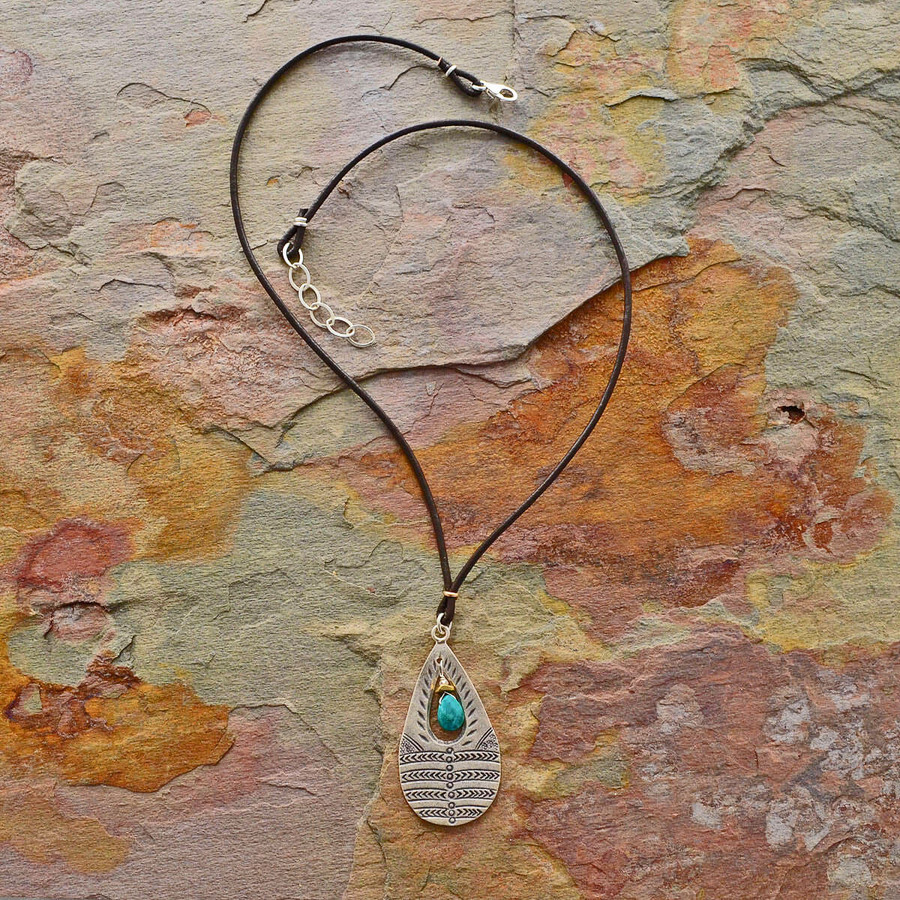 Handmade turquoise necklace made with leather cord: view 2