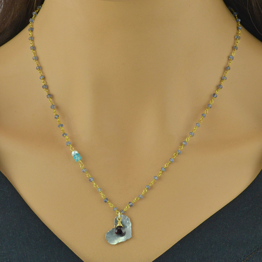 textured heart iolite necklace: view 3
