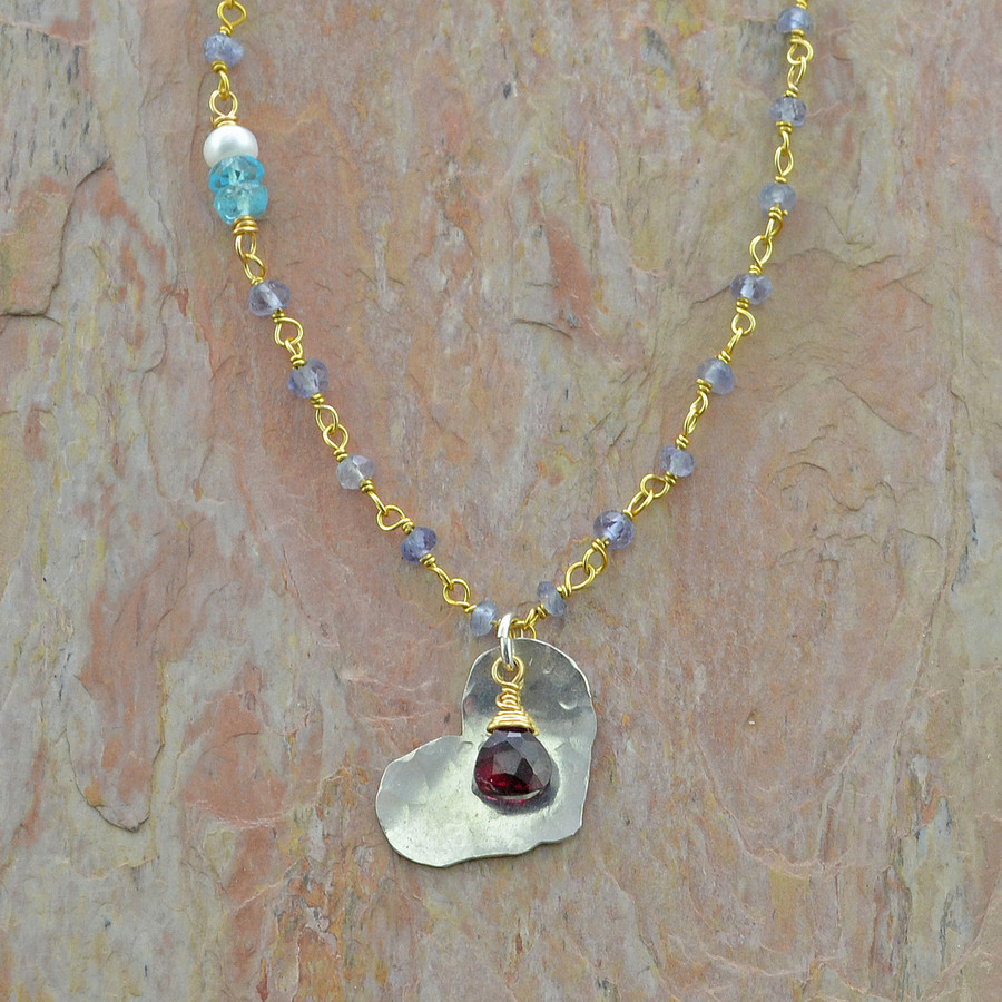 textured heart iolite necklace: view 1