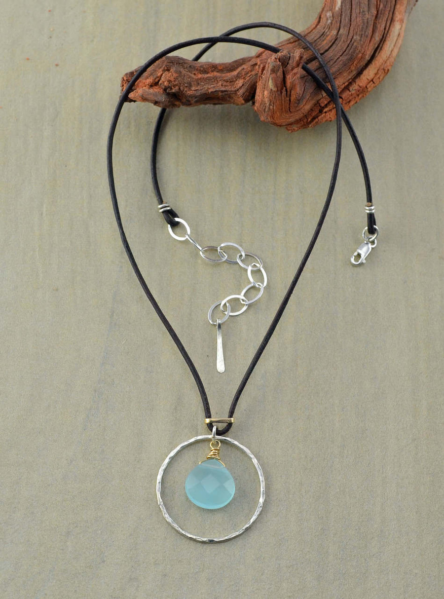 Unique handmade leather necklace with sterling circle and chalcedony stone in the center view 2