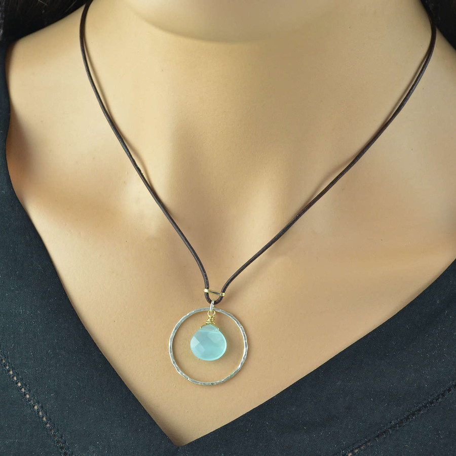 Unique handmade leather necklace with sterling circle and chalcedony stone in the center view 3