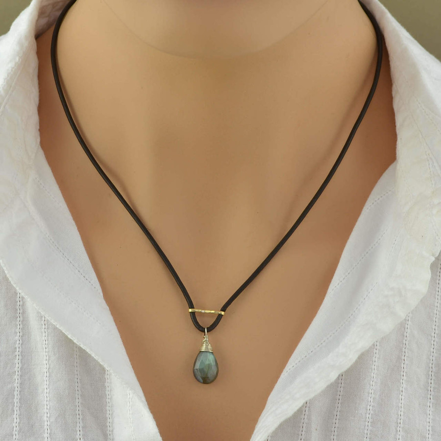 Handmade leather and silver necklaces with teardrop shaped labradorite gemstone: view 3