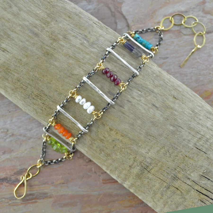 Handmade gemstone bracelets with various types of gemstones and 14/20k gold filled sterling silver chain view 2