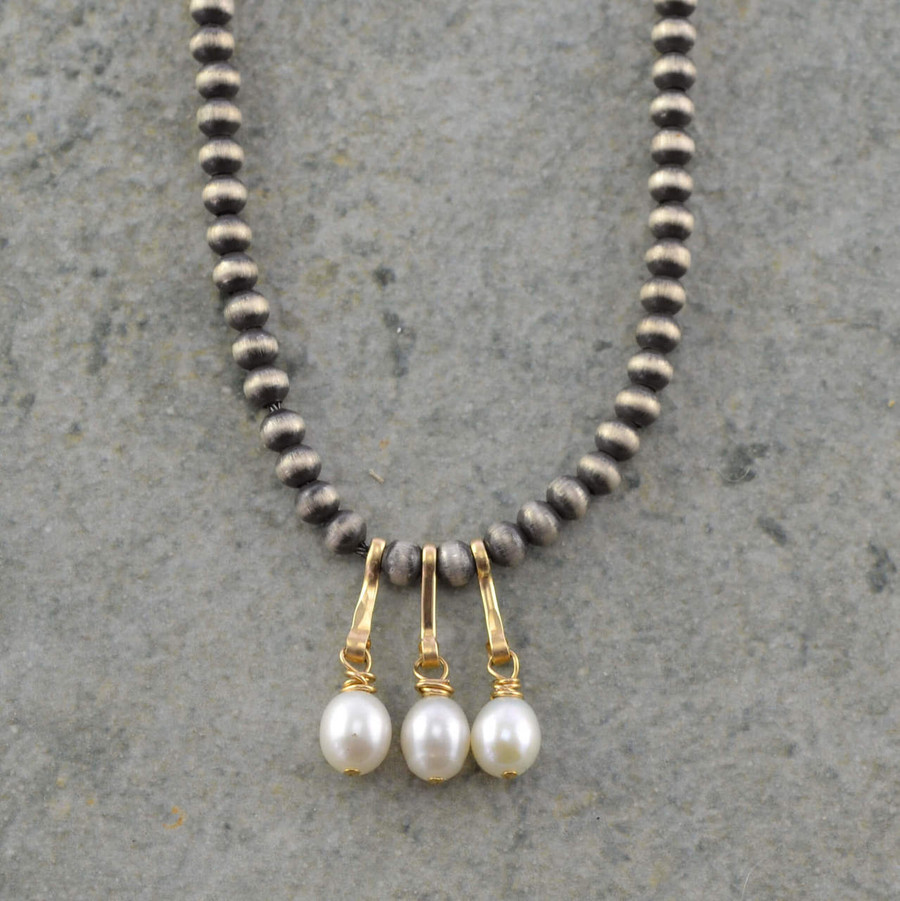 Handcrafted necklaces with three freshwater pearls and sterling silver beads view 1