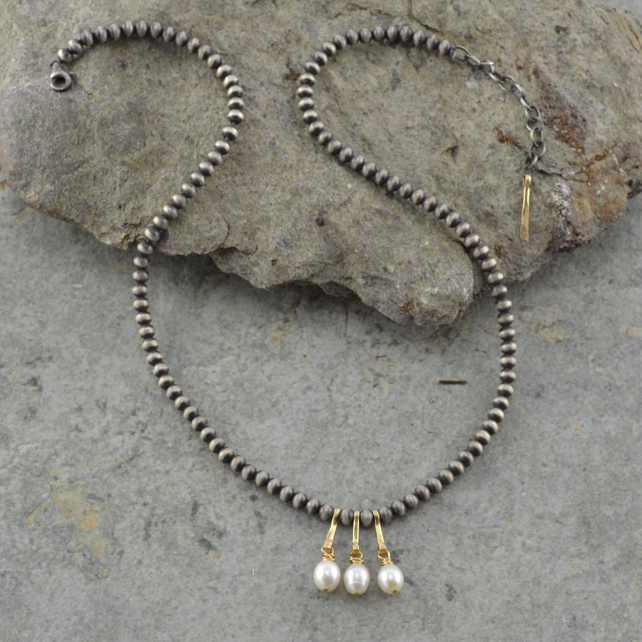 Handcrafted necklaces with three freshwater pearls and sterling silver beads view 2