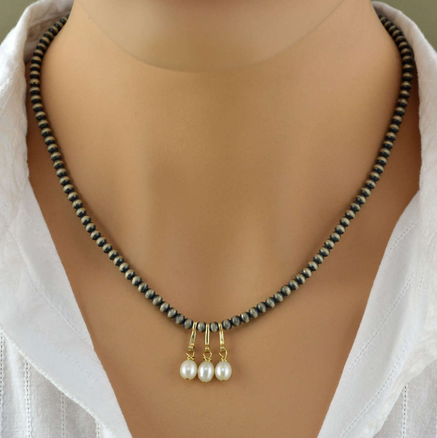 Handcrafted necklaces with three freshwater pearls and sterling silver beads view 3