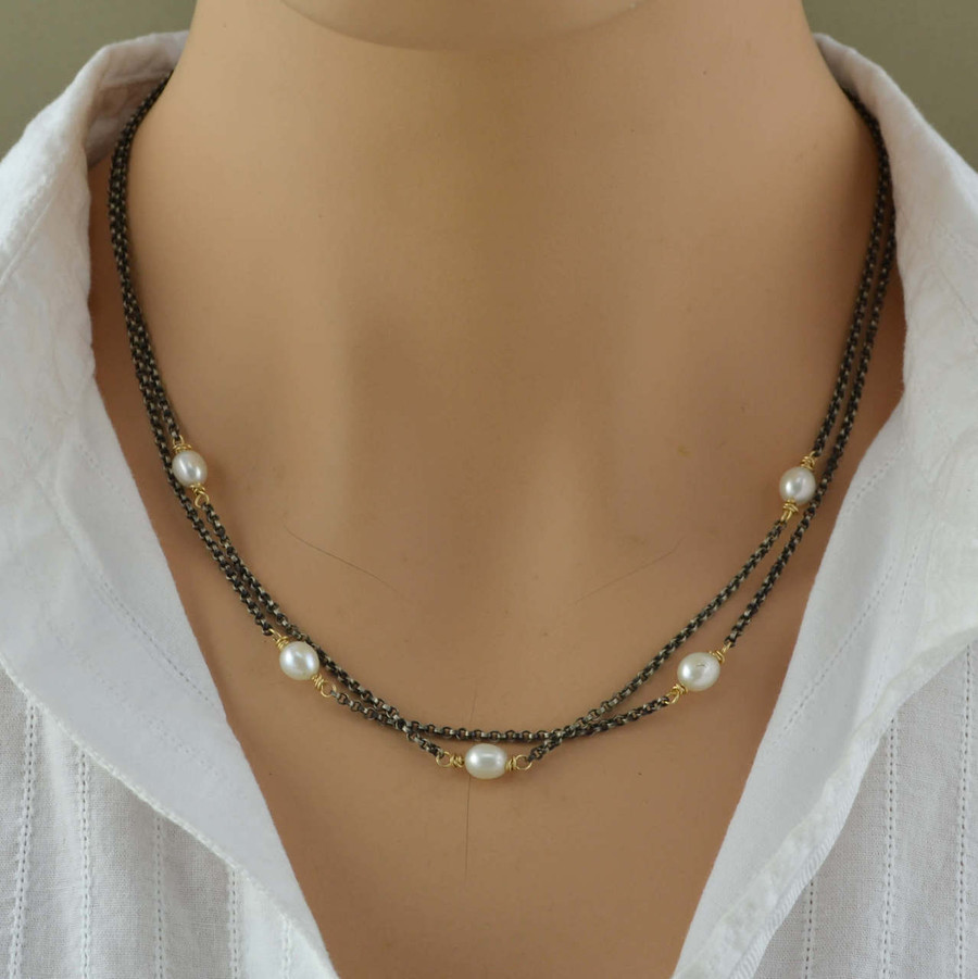 handmade sterling silver necklace with freshwater pearls: view 3