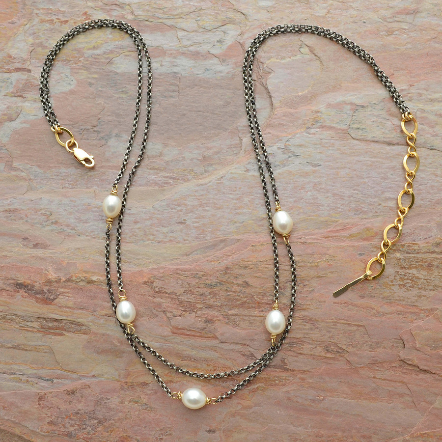 Streaming Pearls Sterling Silver Necklace