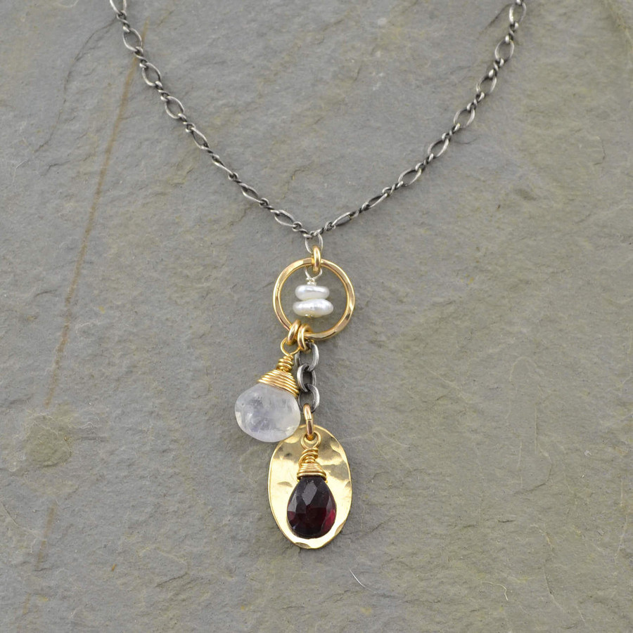 dangling  handmade gemstone necklaces with center circle filled 14/20k gold view 1