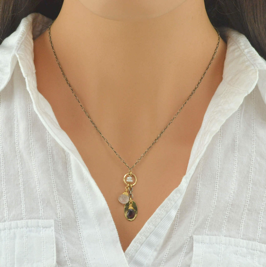 dangling  handmade gemstone necklaces with center circle filled 14/20k gold view 3