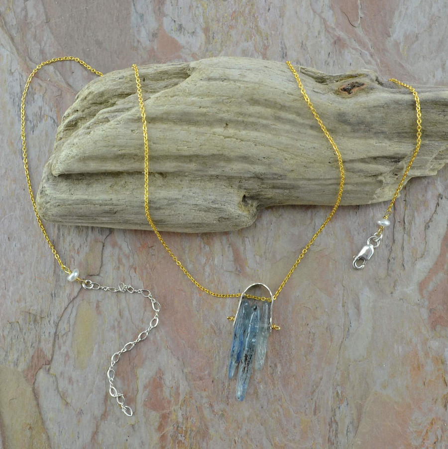 handmade artisan necklace with 14/20k gold filled chain and kyanite gemstone view 2