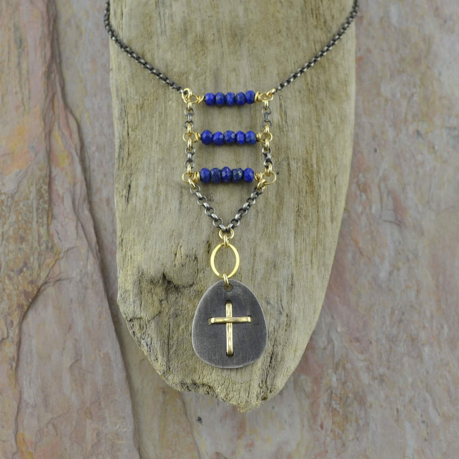 Handmade sterling silver necklace with 14/20k gold and lapis stone: view 1