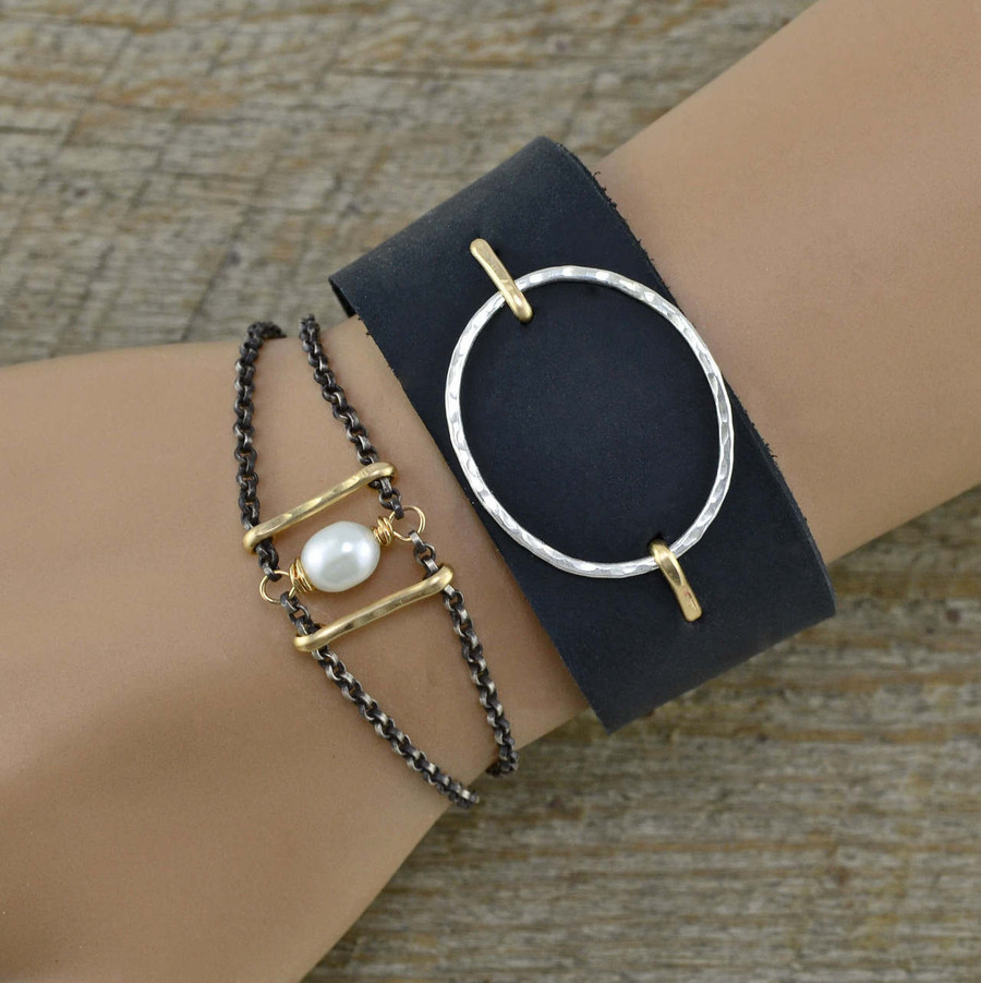 Suspended Circle leather cuffs: view 2