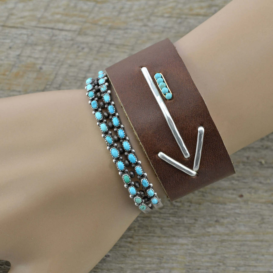 handmade cuffs feature with a sterling silver arrow and five vibrant turquoise seed beads: view 2