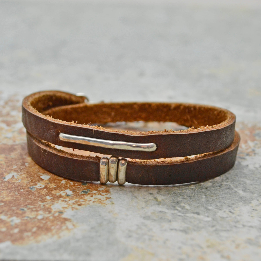 Sterling Accented Leather Wrap Bracelet