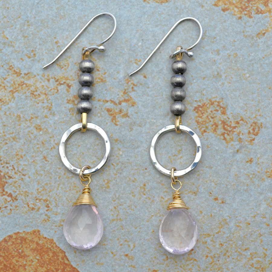 Dangling Rose Quartz on Sterling Circle Earrings
