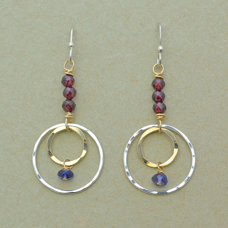 Elegant Layered Circle and Garnet Earrings