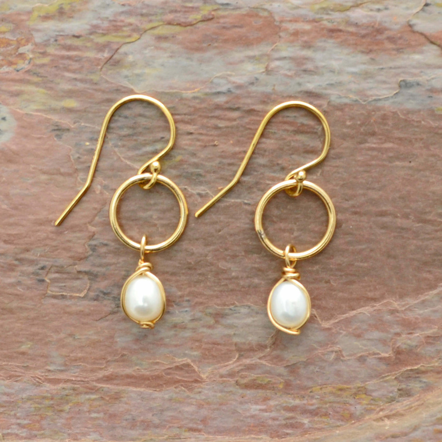 Pearl Drop and Gold Circle Earrings