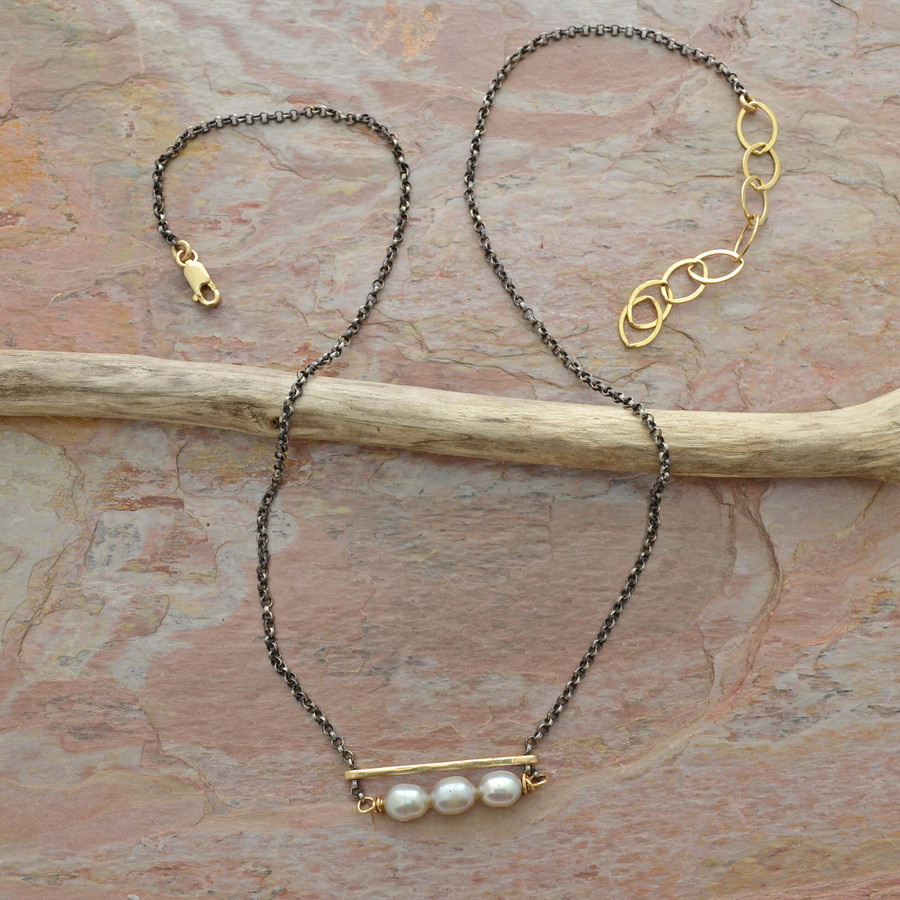 Accented in Gold Shimmering Pearl Necklace