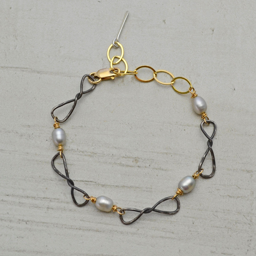 Twisted Pearl Gold Accented Bracelet