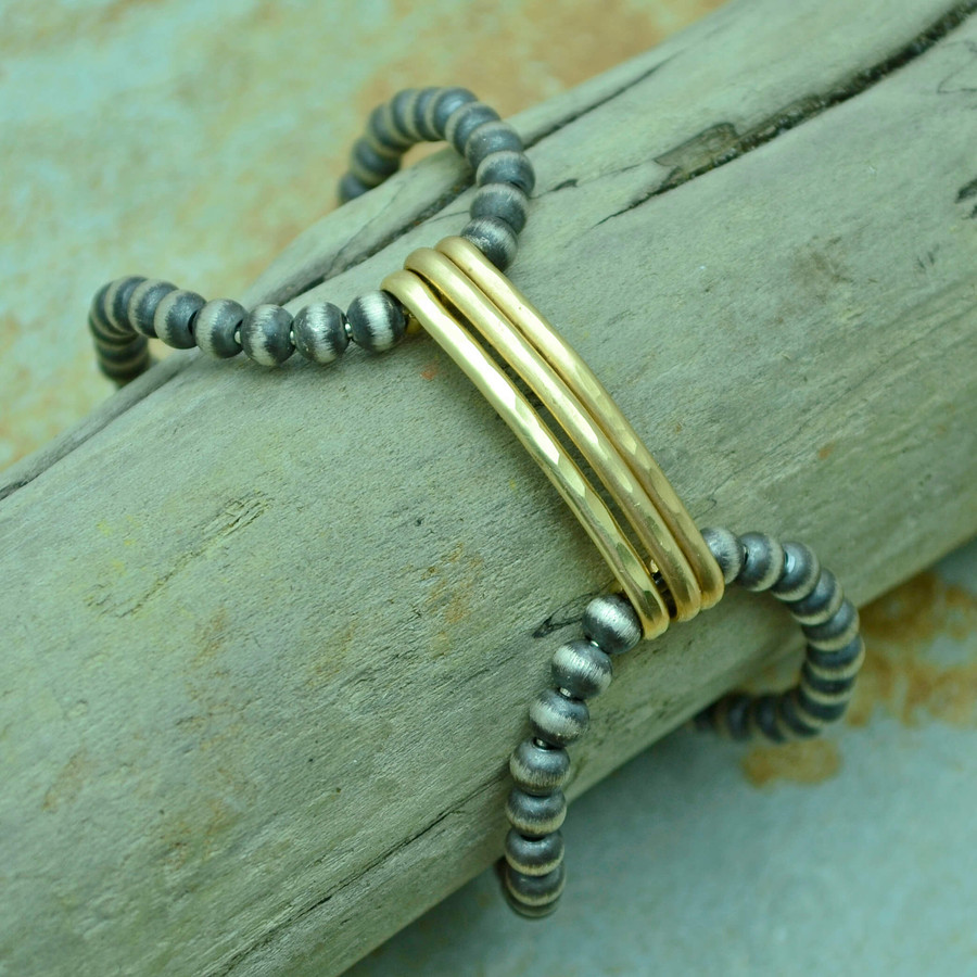 Lateral Gold and Brushed Sterling Bracelet