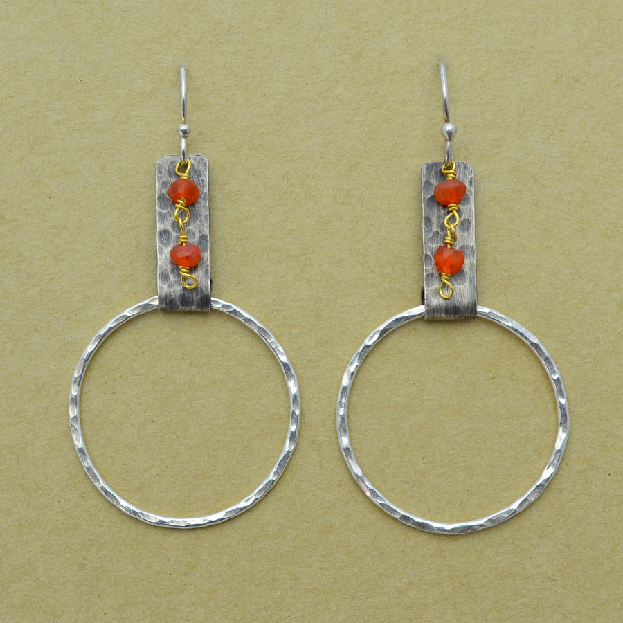 Carnelian Drops and Sterling Circle Earrings