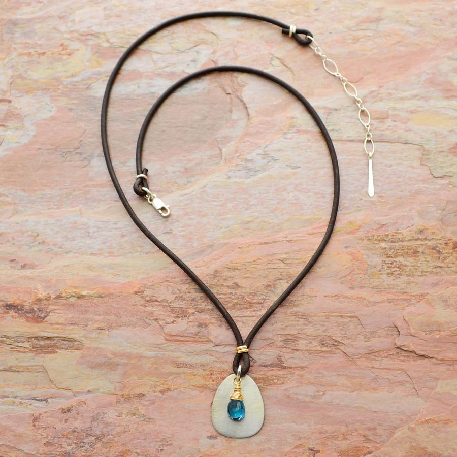 Teardrop Blue Topaz Leather Necklace